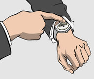 Hands and wristwatch Royalty Free Stock Photos