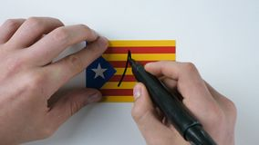 Hands writes NO on the Catalan flag stock footage