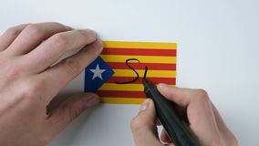 Hands writes YES on the Catalan flag stock video