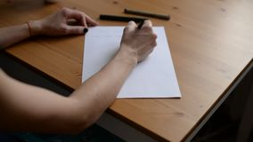 Hands writing letter stock video