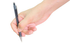 Hands writing with pen over paper isolated Royalty Free Stock Photos