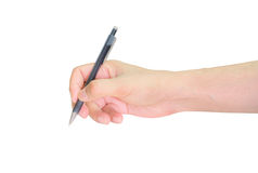 Hands writing with pen over paper isolated Stock Photos