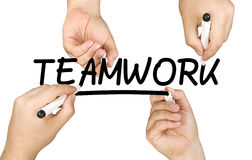 Hands Writing Teamwork Clear Glass Whiteboard royalty free stock images