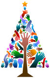 Hands xmass tree. Isolated illustrated colorful design Royalty Free Stock Images