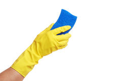 Hands in yellow glove with sponge Royalty Free Stock Photos