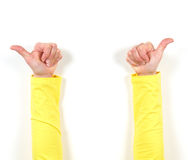 Hands in yellow jacket and gestures. Ok Stock Image