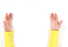 Hands in yellow jacket and gestures Stock Image