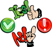 Hands - yes -  no. My illustrations - a vector Royalty Free Stock Photo
