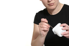 hands yoghurt royaltyfria foton
