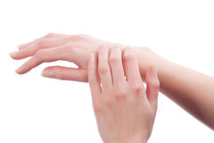 Hands of young caucasian girl Stock Photo