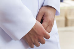 Hands of young man while waiting and concerning or fearing somet Stock Photography