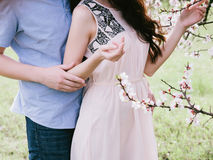 Hands young men and woman hugging a beautiful girl in bloom garden, Stock Images