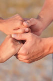 Hands of young men and women Royalty Free Stock Photo