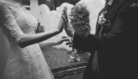 Hands of a young newly wed couple Stock Images