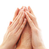 Hands of young persons united together on white Stock Image