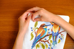 Hands of a young woman embroidering cross picture Stock Photography