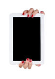 The hands of a young woman holding a tablet Royalty Free Stock Photography