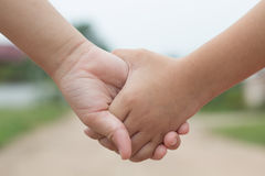 Hands. The holding hands of couple royalty free stock photo