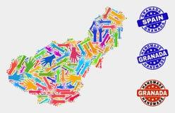 Handsamenstelling van van de de Provinciekaart en Nood van Granada Met de hand gemaakte Zegels royalty-vrije illustratie