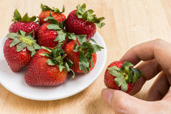 Handsammeln-Erdbeere Stockfotos
