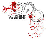 Handschelle mit roten Blutstropfen Stockfotos