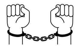 Handschellen auf den Händen des Verbrechers lizenzfreie abbildung