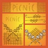 Handschets Reeks bedrijfsformaten met beelden voor een picknick in de stijl van Krabbel Kebab op een vleespen en een hand vector illustratie