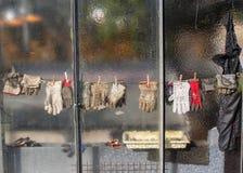 Handschoen achter een venster Stock Afbeeldingen