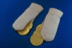 Handschoenen als gift voor Kerstmis royalty-vrije stock afbeeldingen