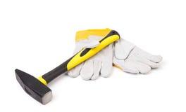 Handschoenen en hamer Royalty-vrije Stock Foto's