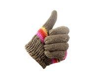 Handschoenen met omhoog duim Stock Foto
