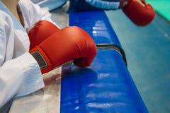 Handschoenen op zijn handen voor Karate Stock Afbeeldingen