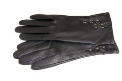 Handschoenen voor vrouwen op een witte achtergrond. Stock Foto