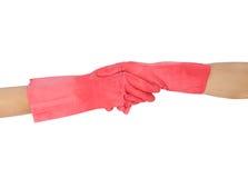 Handschok in rubberdiehandschoenen op witte achtergrond worden geïsoleerd Royalty-vrije Stock Foto's
