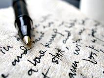 Handschrift auf brauner Serviette Lizenzfreie Stockbilder