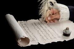 Handschrift auf Rollepapier Stockbild