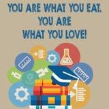 Handschrift de tekst die u is schrijven Wat u u bent eet van Wat u houdt Het Begin van de conceptenbetekenis om gezond voedsel te royalty-vrije illustratie