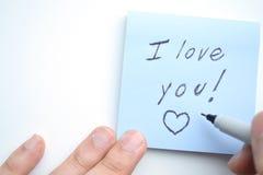 Handschrift ich liebe dich! Stockbild