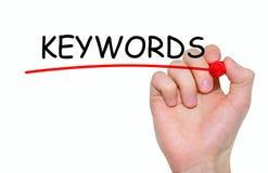 Handschrift-Schlüsselwörter mit roter Markierung auf transparentem Abwischen verschalen Lizenzfreies Stockfoto
