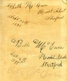 Handschrift von 1888 Lizenzfreies Stockbild
