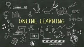 Handschriftconcept 'online het Leren' bij bord royalty-vrije illustratie