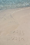 Handschriftinschrijving 2016 op het strand Stock Foto's