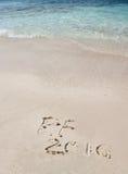 Handschriftinschrijving 2016 op het strand Stock Afbeeldingen