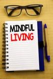 Handschrifts-Mitteilungstext, der aufmerksames Leben zeigt Geschäftskonzept für das Leben-glückliche Bewusstsein geschrieben auf  Stockbild