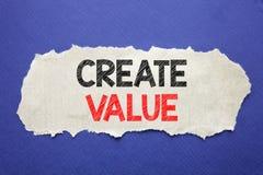 Handschrifts-Mitteilungstextvertretung schaffen Wert Geschäftskonzept für die Schaffung der Motivation geschrieben auf Briefpapie Stockbilder