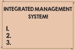 Handschrifts-Text integriertes Management-System Konzeptbedeutung kombiniert alle Komponenten eines Geschäfts in eins gebrochen lizenzfreie abbildung