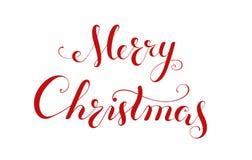 Handschriftsbeschriftung der frohen Weihnachten. Lizenzfreies Stockfoto