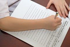 Handschriftspraxishausarbeit lizenzfreies stockbild