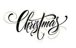 Handschriftsskriptbeschriftung der frohen Weihnachten Auch im corel abgehobenen Betrag Lizenzfreies Stockfoto