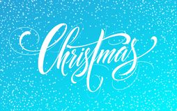 Handschriftsskriptbeschriftung der frohen Weihnachten auf einem hellen farbigen Hintergrund Auch im corel abgehobenen Betrag Stockbilder
